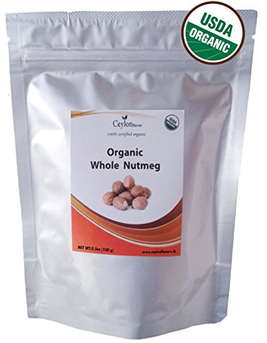 - Organic Whole Nutmeg (3.5 oz), Premium Grade, Harvested & Packed from a USDA Certified Organic Farm in Sri Lanka (stand up resealable pouch)