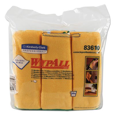 83610 Wypall Cloths - Microfiber Cloths, Reusable, 15 3/4 X 15 3/4, Yellow, 24/Carton
