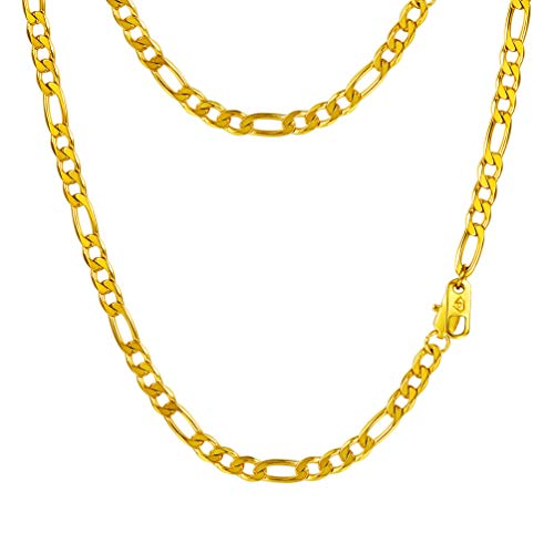 PROSTEEL Layering Layered Women Necklace Chain,18K Gold Plated,Hip Hop Jewelry,Flat Curb Chain,26inches,Figaro Link Chain ()