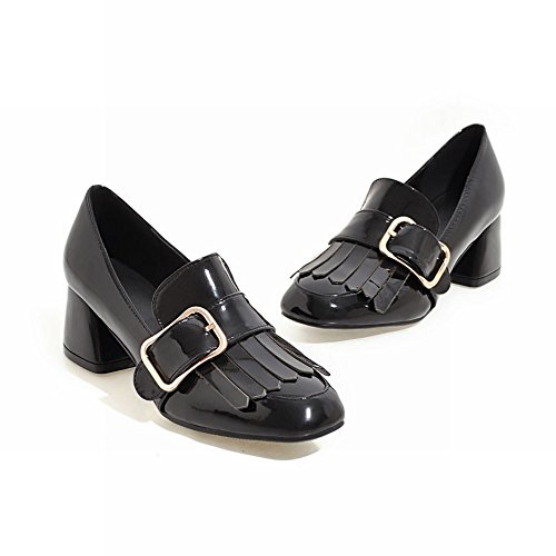 Charm Foot Womens Retro Tassels Patent Leather Buckle Chunky Pump Shoes Black mhxhjF