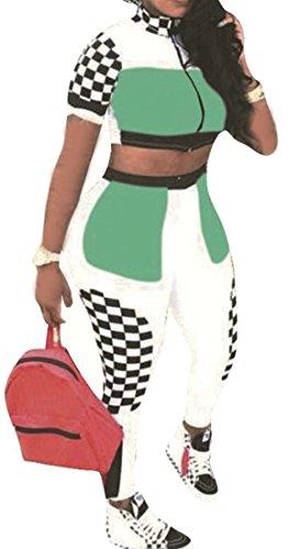 XTX Womens Plaid Contrast Jacket Cropped Top Pencil Sweatpants Tracksuit Set Green ()