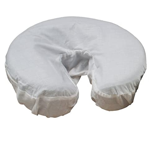 Body Linen Simplicity Poly Cotton Massage Face Cradle Covers (White, 10 Pack) - Clean, Crisp Fabric for Frequent Use and Washing, Colorfast and Latex-Free, Fits All Standard Massage - Fleece Face Cradle Cover