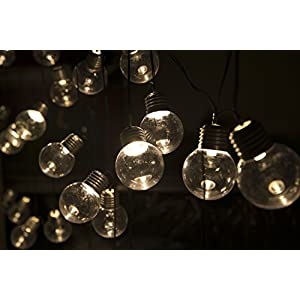 SOLAR LIVING Solar Round Bulb String Lights 30 LEDs Total. Extra Long Length. Ambient Warming Outdoor Decor. No Wiring Required. 8 Hours of Glowing Charge. Perfect for Patio, Garden and More