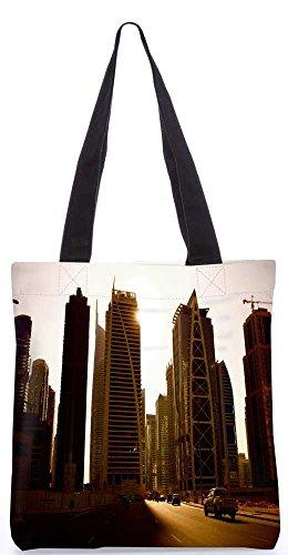 """Snoogg Straßen In Dubai Tragetasche 13,5 X 15 In """"Shopping-Dienstprogramm Tragetasche Aus Polyester Canvas"""
