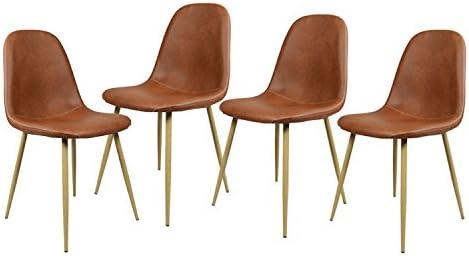 Navy Blue Furniture Lot de 4 Chaises Scandinave Marron Salle à Manger  Chaises de Cuisine Vintage en PU Cuir Marron