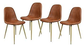 navy blue furniture lot de 4 chaises scandinave marron salle manger chaises de cuisine vintage - Chaises Scandinave