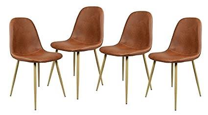 Navy Blue Furniture Lot De 4 Chaises Scandinave Marron Salle A