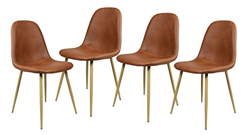 Juego de Silla de Comedor de 8 sillas de Metal de diseno unico de PU Artificial Silla de Comedor para Cocina Comedor