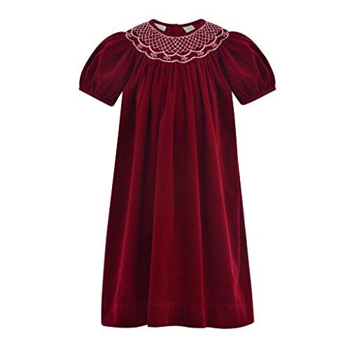 Carriage Boutique Baby Girls Maroon Corduroy Bishop Dress, 3T