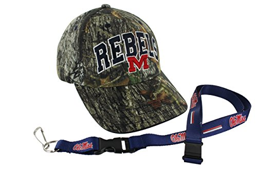 Who's In Mossy Oak NCAA College Camo Hat and Team Color Lanyard (Mississippi Rebels) by TruFan