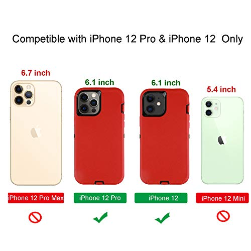 smartelf Compatible with iPhone 12/Compatible with iPhone 12 Pro Case(2020)6.1 inch,Heavy Duty Shockproof Drop Protecton Hybrid Dual Layer Duable Hard Cover-Red/Black