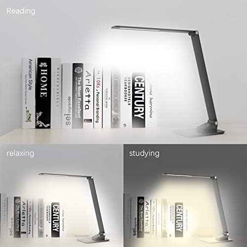 Chambre ou Dortoir avec 5 Niveaux de Luminosit/é Noir 12w Port de Charge USB pour Bureau YOUKOYI Lampe de Bureau /à LED /à Chargement sans Fil Lampe dimmable avec 3 Modes de Couleur