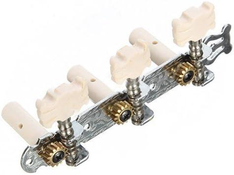 SODIAL 2X Clavijas de afinacion sintonizadores de guitarra clasica un par de teclas de cabezas de la maquina blanca