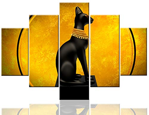 Egyptian Cat Picture Ancient Egypt Painting for Living Room Orange Neon Artwork Multi Panel Black Wall Art on Canvas Modern Home Decor Framed Stretched Ready to Hang Posters and ()