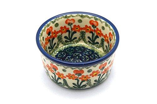 Polish Pottery Ramekin - Peach Spring Daisy