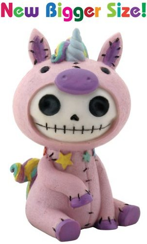 SUMMIT COLLECTION Furrybones Unie Signature Skeleton in Pink Unicorn Costume with Stars and Rainbow Hair