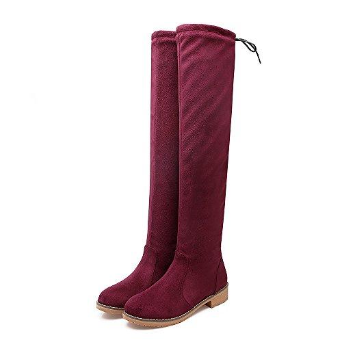 Carolbar Mujeres Lace Up Low Heel Sobre La Rodilla Riding Tall Botas Wine Red