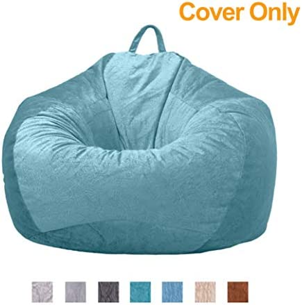 WAQIA Stuffed Animal Storage Bean Bag Chair Cover Only No Filler Plush Microsuede Stuffable Zipper Beanbag for Organizing Children Plush Toys Memory Foam Beanbag Replacement Cover Light Blue