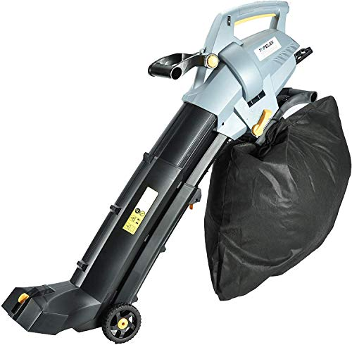 TOPELEK 3-in-1 Electric Blower Vacuum Mulcher, 185MPH Leaf Blower Vaccum, 7 Wind Speeds Leaf Vaccum, Large 15.9 Gal Vacuum Mulcher with Wheels, Humane Designed Impellers, Fast Work Sweeper