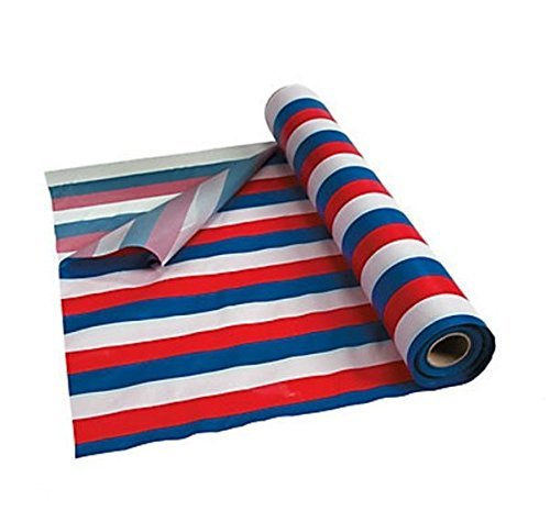 Red, White & Blue Striped Tablecloth Roll Comes Sealed! 100' X 40