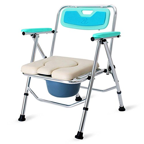 LUCKYYAN Folding Commode Comfort Chair with Padded Toilet Seat ...