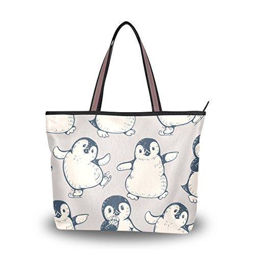 Grand À D'épaule Penguins Fourre Mignon Sac Alaza tout Main pwaCTx84qA