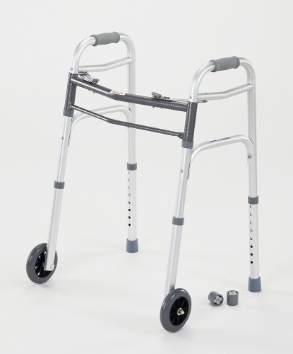 cardinal-health-cwal0006-dual-release-walker-with-single-wheels-in-front-aluminum-300-pound