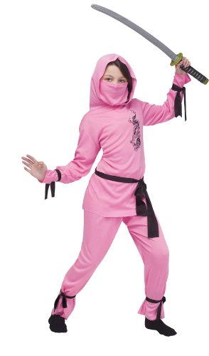 Girls Pink Ninja Costumes (Ninja Costume - Large)