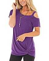 Fantastic Zone Women's Summer Casual Cold Shoulder Short Sleeve T-Shirt Front Knot Twist Tunic Tops Blouses Purple