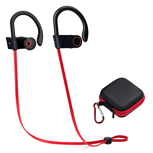 Wireless Sports Earphones Mic Waterproof HD Stereo Sweatproof Earbuds for Gym Running Workout 8 Hour Battery Noise Cancelling Headsets (red)