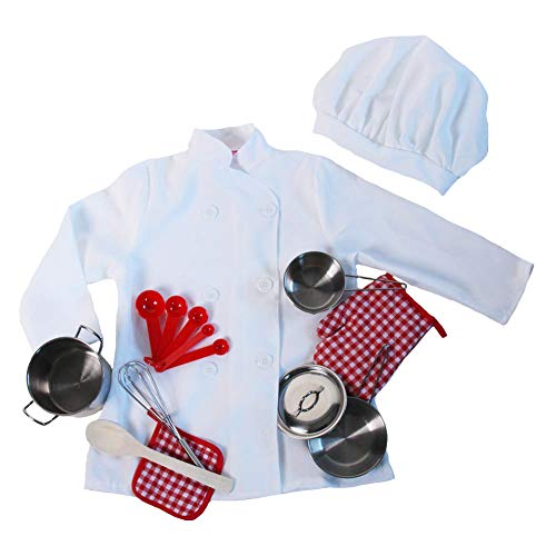 Kids Chef Pretend Play Set - Jacket, Hat & 9 Piece Mini Stainless Steel Frying Pan Set, Size -