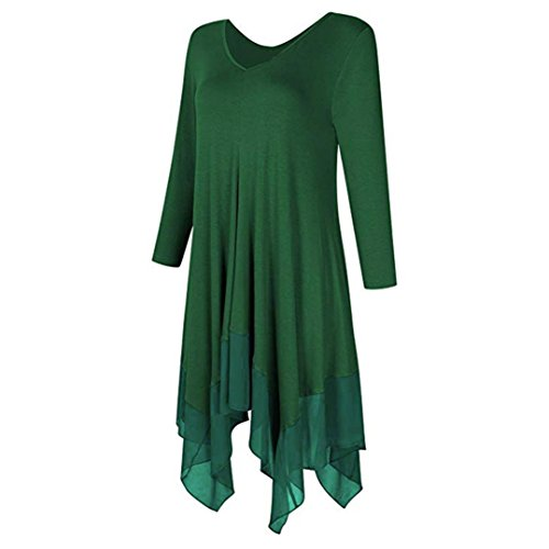 Robe Automne Col Simple Party Dames Mini Lache Cocktail Longues Taille Dress t Irrgulier Chic Casual Printemps Boho Solides Femme Plage lgant LOVELYOU Grande Soire V Sexy Vert Mode Manches qI875Ax