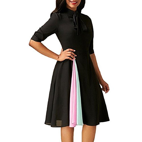 GONKOMA Women's Dress, Ladies Half Sleeve Cocktail Evening Party Dress (S, Black) (Cocktail Waist)