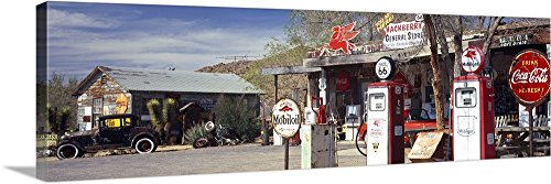 Canvas on Demand Premium Thick-Wrap Canvas Wall Art Print entitled Store with a gas station on the roadside Route 66 Hackenberry Arizona 36