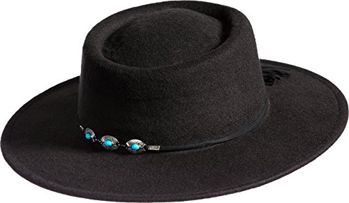 The Gambler Hat Black (Felt Gambler Hat with Concho Band, BLACK, Size 1 Size (Approx. 22