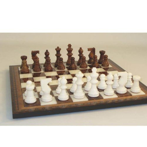 Alabaster Chess Set with Inlaid Board (Alabaster Chess Board)