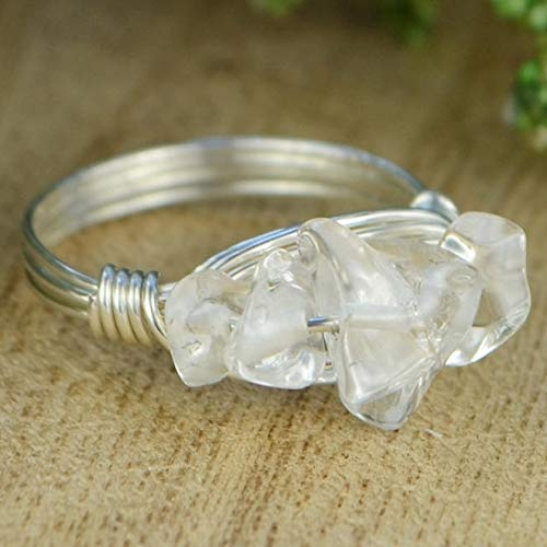 Clear Quartz Cluster Gemstone Beads and Sterling Silver, Yellow or Rose Gold Filled Wrapped Ring- Made to size 4-14
