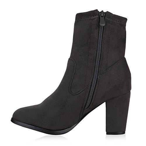 Stiefelparadies Damen Stiefeletten High Heels Transparente Schuhe Blockabsatz Lack Flandell Grau Bernice