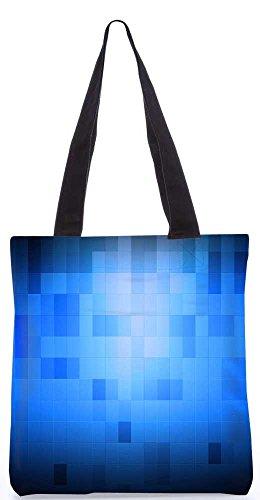 """Snoogg Blauen Blöcke Musterentwurf Tragetasche 13,5 X 15 In """"Shopping-Dienstprogramm Tragetasche Aus Polyester Canvas"""