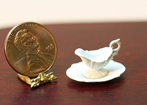 Boats For Dishes (Multi Minis Dollhouse Miniature White Gravy Boat on Dish)