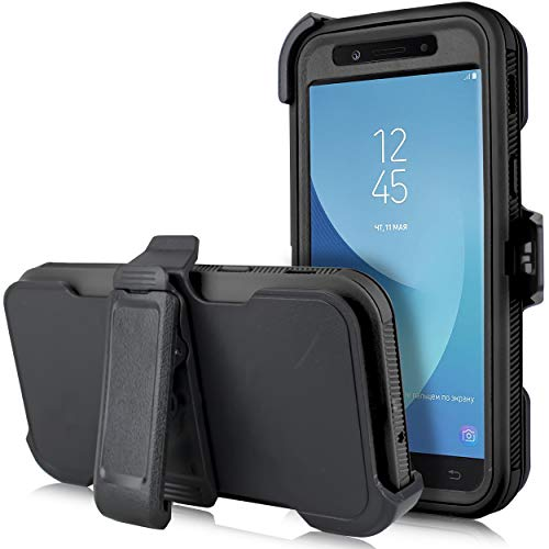 for Samsung Galaxy J3 Star 2018, Achieve, J3V 3rd Gen, Express Prime 3, Amp Prime 3 (J337) [Four Layered Protection] Heavy Duty Defender Holster Armor Case with Built in Screen ()