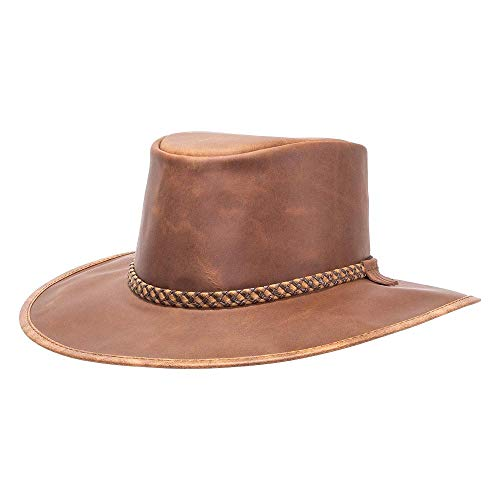 American Hat Makers Crusher by American Outback Leather Hat, Copper - X-Large ()
