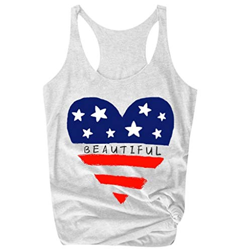 LuluZanm Summer Tank Tops for Women,Ladies Sale Flag and Letter Print Vest Sleeveless Fashion Independence Day Blouse White