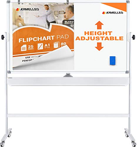 Mobile Whiteboard - Large Adjustable Height 360° Reversible Double Sided Dry Erase Board - Magnetic White Board on Wheels - Portable Rolling Easel with Stand, Flip Chart Holders, Paper Pad | 48x36