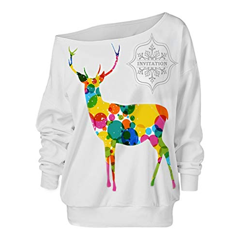 YOCheerful Off-Shoulder Sweatshirt Women's Fashion Christmas Elk Print Tops Loose Long Sleeve Sweatshirt