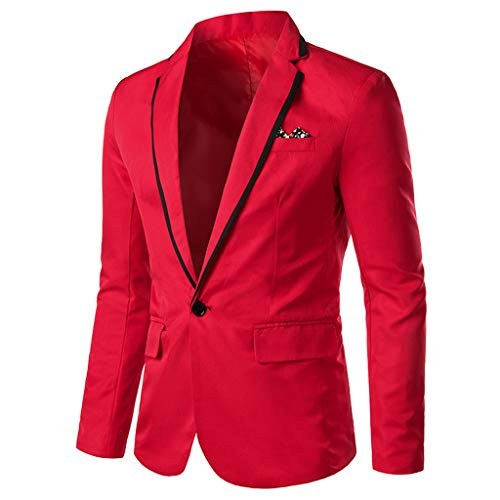 TIFENNY Men's Stylish Suit Casual Solid Lapel Blazer Business Wedding Party Outwear Coat Suit Tops One Button Red