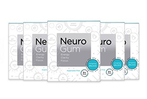 NeuroGum Nootropic Energy Gum EnlightenMint Flavor (6 Pack | 54 Pieces)