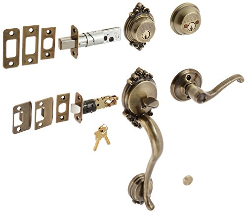 Schlage F62-BRK-FLA-LH Brookshire Double Cylinder Handleset with Left Handed Int, Antique Brass