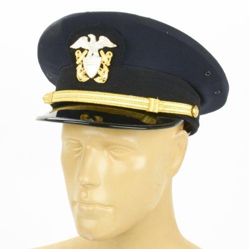 Officers Visor Hat (U.S. WWII Naval Officer Blue Peaked Visor Cap- Size US 7.25 (58cm))