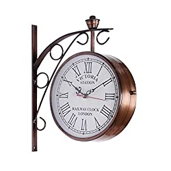 Antique Museum Home DÉCOR Collectible Victoria Station London 1747 Double FACE Wall Clock A1WC 01